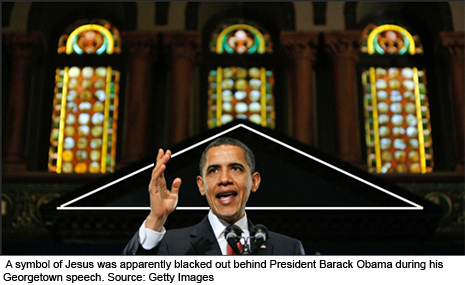 Jesus Missing From Obama's Georgetown Speech; Nice Pyramid Symbolism, Though obamapyramid