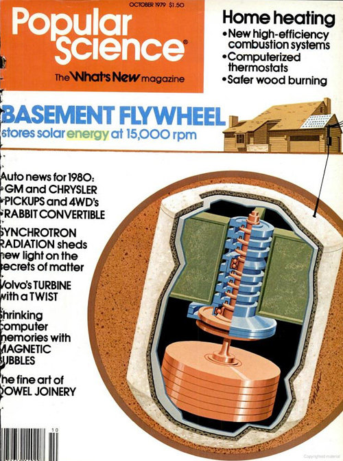 Popular Science Depiction of Flywheel for Residential Energy Storage, 1979